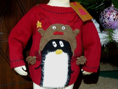 BNWT Girls Cute NEXT Red Knitted Wool//Faux Fur Penguin Reindeer Christmas Jumper