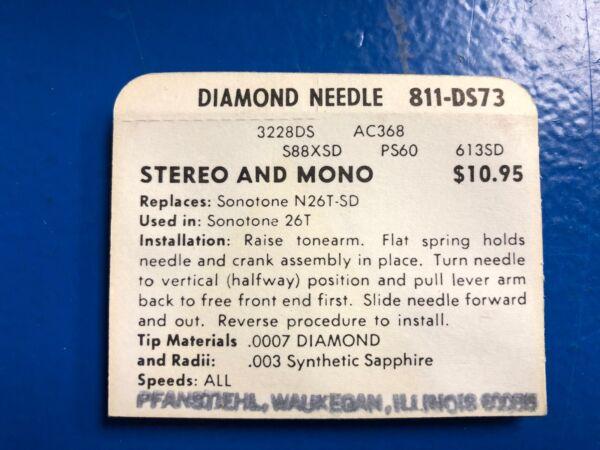 Verenigd Vintage Nos Pfanstiehl Turntable Record Player Needle # 811-ds73 Matching In Kleur