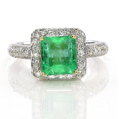 Echter 2.84ct Natürlich Grün Smaragd Verlobungsring Smaragdschliff 18k G Kaufen Sie Immer Gut Brautschmuck Uhren & Schmuck
