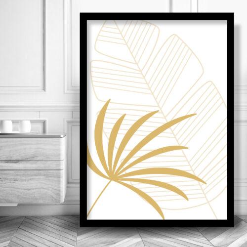 Mustard Yellow Fern LEAVES Art PRINT Framed Options Poster Box Frame White Black