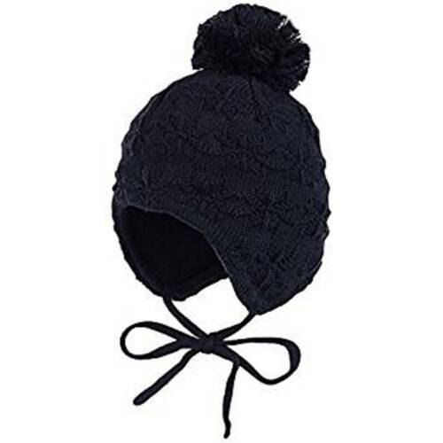 Maximo Baby Boy Knitted Winter Hat Navy Blue Covers Ears With Strings Pom Pom