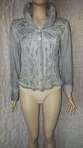Bottega-Elisa-Cavaletti-grey-washed-faded-effect-crinkle-front-shirt-size-M