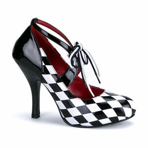 Harlequin-03 Funtasma Damen High Heels Riemchen Pumps schwarz weiß Gr 36-43