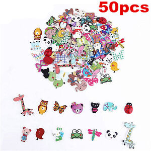 Lots-50Pc-Mixed-Bulk-Animal-Wooden-Sewing-Buttons-Scrapbooking-DIY-Craft-2-Holes