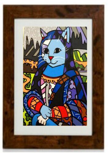Mona Cat Framed Print by Romero Britto
