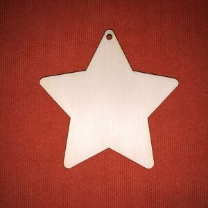 10 x Wooden MDF Stars Hanging Hole Tags craft blank christmas star