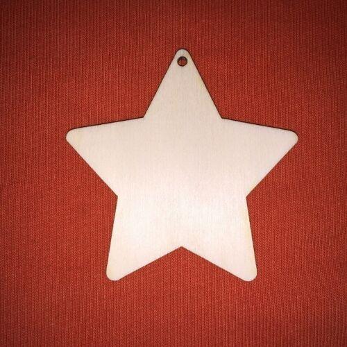 10 x CHRISTMAS STAR medium WOODEN SHAPE EMBELLISHMENT HANGING CRAFT PLAIN TAG
