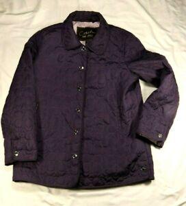 Women-039-s-Coach-Signature-C-Lightweight-Quilted-Coat-Jacket-Plum-Purple-Size-M