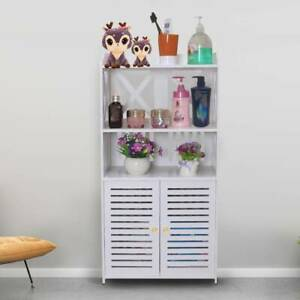 Waterproof-White-Wooden-Bathroom-Cabinet-Shelf-Cupboard-Bedroom-Storage-Unit-New