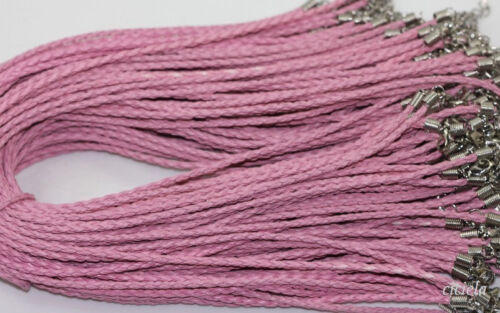 Lot 5//10//20//50Pcs Leather Braid Rope Hemp Cord Lobster Clasp Chain Necklace 46cm