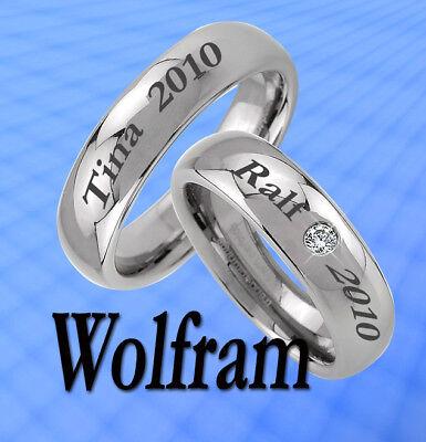 KöStlich 2 Ringe Trauringe Wolfram Persönl. Aussengravur Jw1-1l