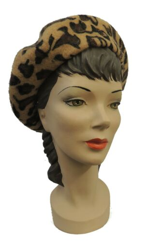 Women's Vintage Hats | Old Fashioned Hats | Retro Hats    New Ladies VTG 1940s 1950s style Leopard Print Wool Beret Hat $12.99 AT vintagedancer.com