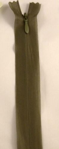 "22/"" 55cm Invisible// Concealed Zip OLIVE GREEN Autolock Closed end colour no.263"