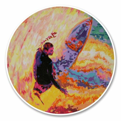 2 x Surfer Vinyl Sticker Laptop Travel Luggage Car #6151
