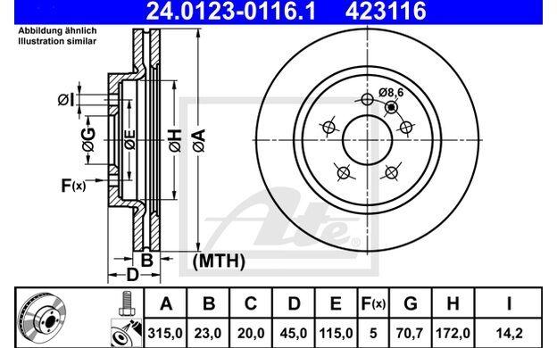 ATE Juego de 2 discos freno 315mm ventilado para OPEL ZAFIRA VAUXHALL