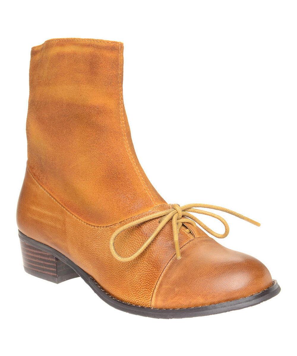 New Antelope  Mustard Lace-Up 342 Leder Stiefel Damens's sz US 6 EUR 37