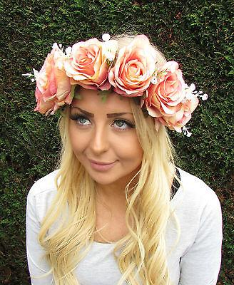 Pink Rose Flower Hair Crown Headband Garland Festival Bridesmaid Boho Leaf W56