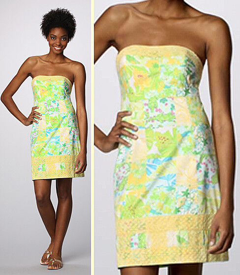 Lilly Pulitzer Bowen Gator Patch Print Lace Trim Strapless Dress