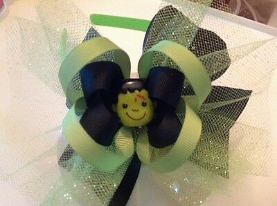 "Halloween Frankenstein hair bow 6/"" grn headband green /& black with glitter tulle"