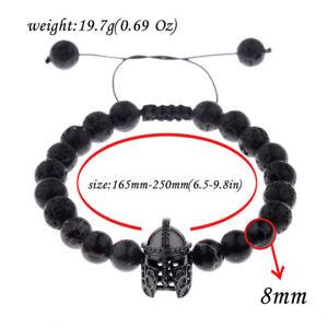 Men-Black-Charm-Spartan-Helmet-Beaded-Natural-Stone-Adjustable-Macrame-Bracelet