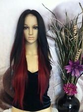 Black with 2 shades of red  human hair blend lace wig