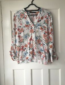 ZARA-ECRU-MULTICOLOUR-FLORAL-PRINT-SHIRT-BLOUSE-WITH-TIED-SLEEVES-SIZE-M