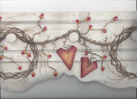 Primitive Grapevine Wreath Berries Hearts Diecut Wallpaper Border Country