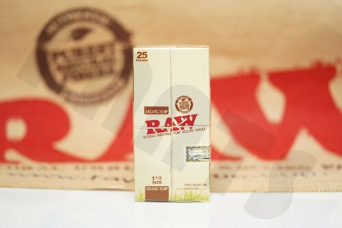 FULL BOX 25 PACKS AUTHENTIC RAW ROLLING PAPER ORGANIC 1 1//2 32 Leaves Per Pack