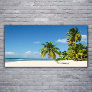 Glasbilder Wandbild Druck auf Glas 120x60 Palme Strand Meer Landschaft