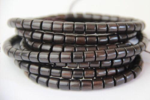 Tibet Buddhism 108 Ebony Wood Barrel Bead Beads Mala Necklace
