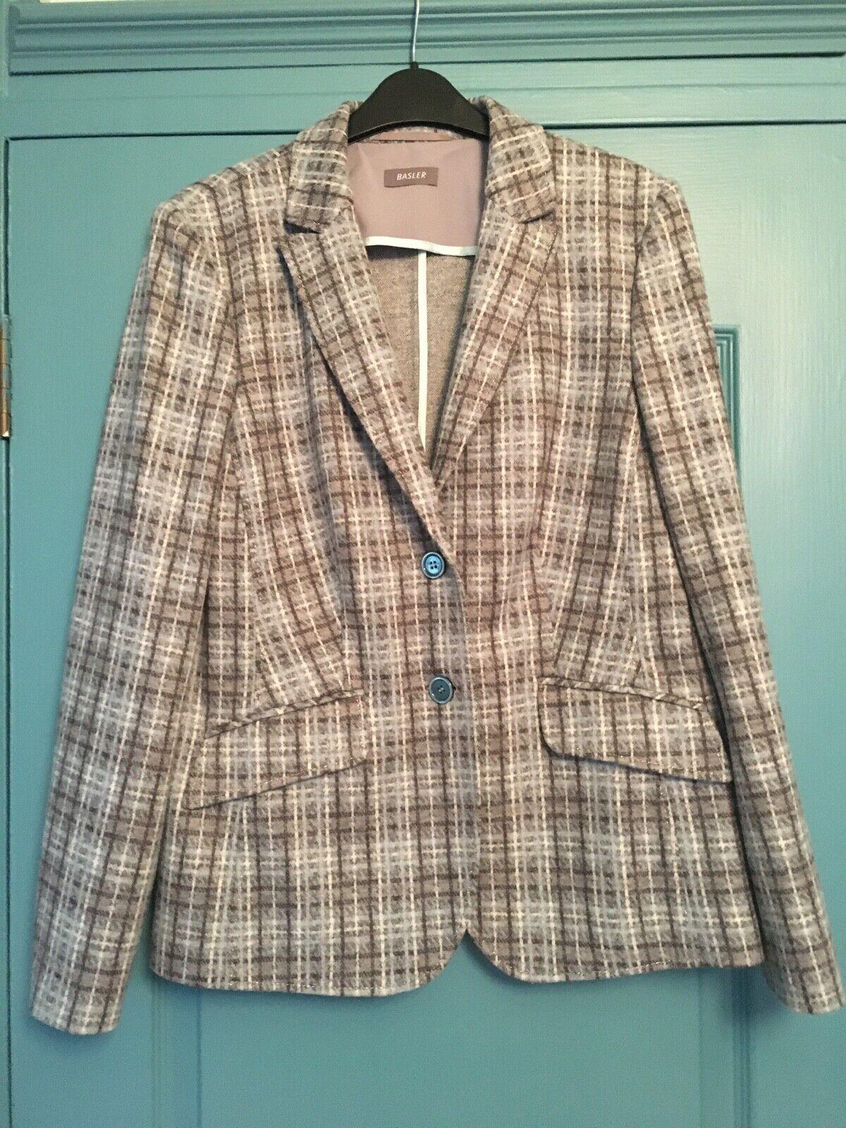 BASLER Grey Pale Blue Tweed Wool Jacket 14 BNWOT