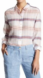 Tommy-Bahama-Women-039-s-Long-Sleeve-White-Cream-Plaid-Shirt-Size-L-Large-Silk-Blend