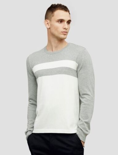 $158 NWT COLORBLOCK STRIPE SWEATER KENNETH COLE BLACK LABEL Grey//White 55/% OFF!