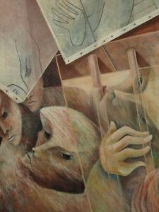 Mendrisse-Grand-Tableau-Contemporain-huile-sur-toile-Portrait-Moderne-Peinture