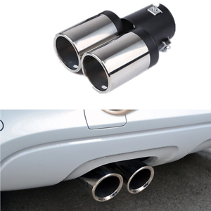 1x 62mm Universal Dual-outlet Exhaust Pipe Car Muffler Tip Trim Stainless Steel