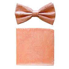 New formal men's pre tied Bow tie & hankie set paisley pattern peach wedding