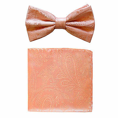 New formal men's pre tied Bow tie & hankie set paisley pattern peach wedding
