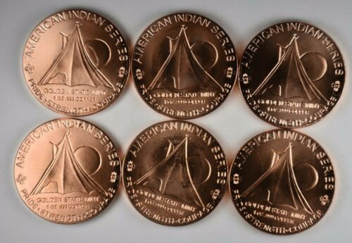 """Copper Round  NEW REVERSE American INDIAN  Series  /""""GREAT SPIRIT/"""" 1 oz"""