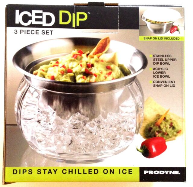 Iced Dip 3 Piece Set Stainless Steel Serving Bowl by Prodyne - GREAT Gift! NIB!