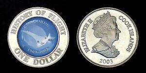 "1 Dollar 2003 Cook Islands. History Of Flight- ""concorde"" 1969-2003"