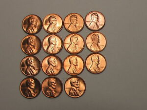 wheat-penny-1956-1958-P-amp-D-GEM-RED-BU-SET-UNC-LOT-6-LINCOLN-CENTS