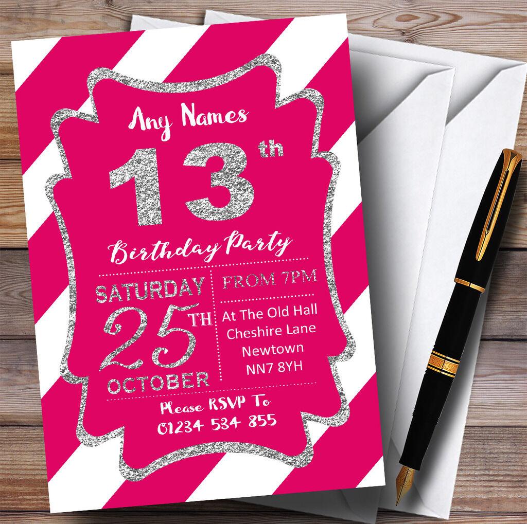 Rose Rose Rose blanc diagonale rayures argent 13th personnalisé fête d'anniversaire invitations ed7bf9