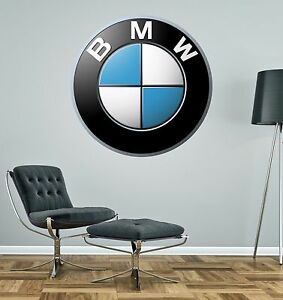 Details about BMW BADGE Wall Decal Decor Bedroom Garage Big Wall Car Logo  Sticker Decal