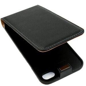 iPhone-4-Ledertasche-schwarz-Tasche-Case-Huelle-Cover-Schutz-Flip-1A-4s-4g-sk24