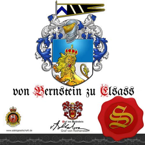 Adelsdiplom ★ ★ GRAF GRÄFIN von BERNSTEIN zu ELSASS  Wappen Adelstitel