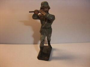 C3 Alte Massefigur Lineol Elastolin Figur Wehrmacht 2. Wk Musiker Mit Querflöte