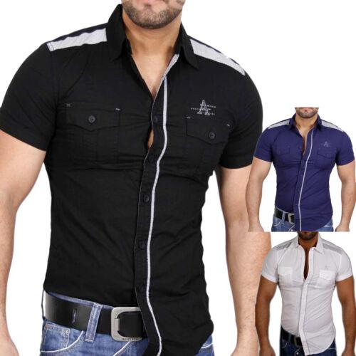NEW MENTALITY a Maniche Corte Aderente Slim Fit festa club Camicia Bianco Nero jp-2457