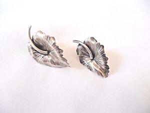 Image Is Loading Vintage Danecraft Sterling Silver Leaf Earrings