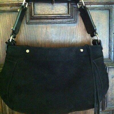 2b0bdb5e5c Balenciaga Black Suede Handbag Boho Hippie Biker O Rings   Fringe Zipper  Pull