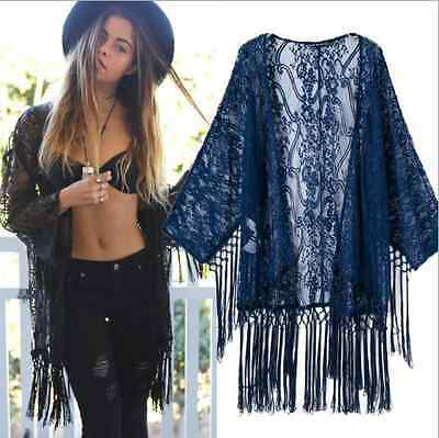 Vintage Retro New Casual Blue Shawl Tassels Kimono Loose Coat Cape Jacket